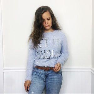 Primark | Blue Sequined Pompom Let It Snow Sweater